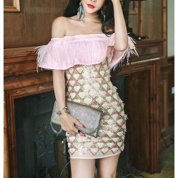 Abito corto vestito donna evento rosa strass frange spalle scoperte mini 3865