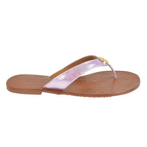 7272d8f4e20a77 Image is loading Tory-Burch-THORA-Reverse-Metallic-Leather-Thong-Sandals-
