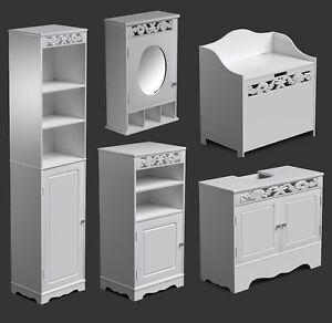 White bathroom furniture range tall cabinet wall mirror for Bathroom cabinets the range