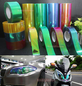 12inch Wide PVC Adhesive Glossy Mirror Chrome Vinyl Tape Wrap Sticker Silver HD