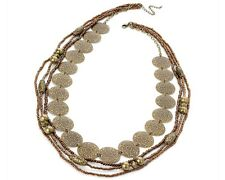 Antique Gold and Copper Tone Bead and Shield Necklace (4 Row)