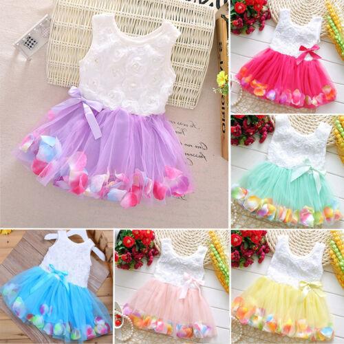 Baby Kids Girl Bow Flower Sleeveless Tulle Skirt Wedding Party Mini Tutu Dresses
