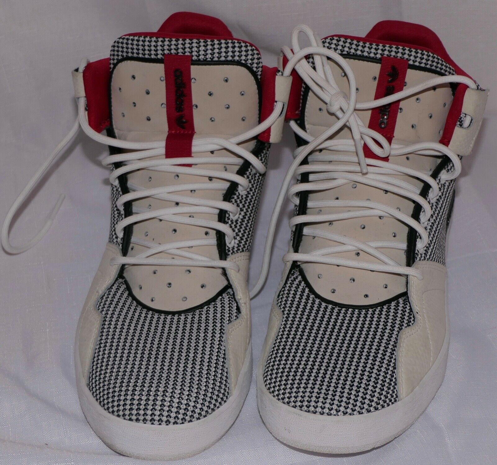 ADIDAS CRESTWOOD MENS MID TOP BASKETBALL CHECKERED RED WHITE BLACK SIZE US