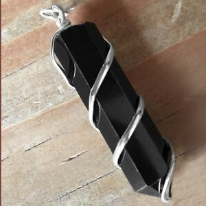 Obsidian-Wire-Wrap-Spiral-Pendant-Point-Chakra-Crystal-Silver-Necklace-CHARGED
