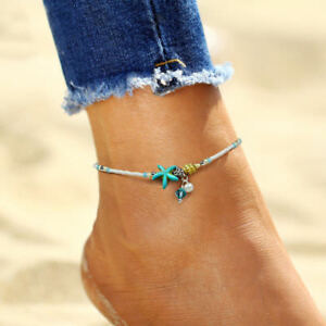 Elegant-Women-Shell-Starfish-Pearl-Beads-Turquoise-Chain-Anklet-Bracelet-Jewelry