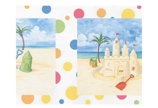 Sand Castles and Buckets on the Beach with Polka Dots Wallpaper Border 144B87703