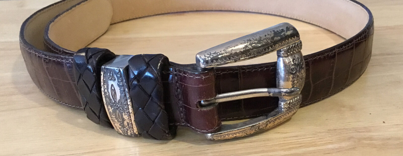 Brighton Women's Belt Size M Croco Emboss Brown Leather, S24709 Made in USA