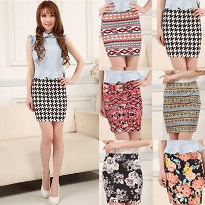 Fashion Women High Waist A-Line Skirts Floral Short Mini Dress Pencil Skirt