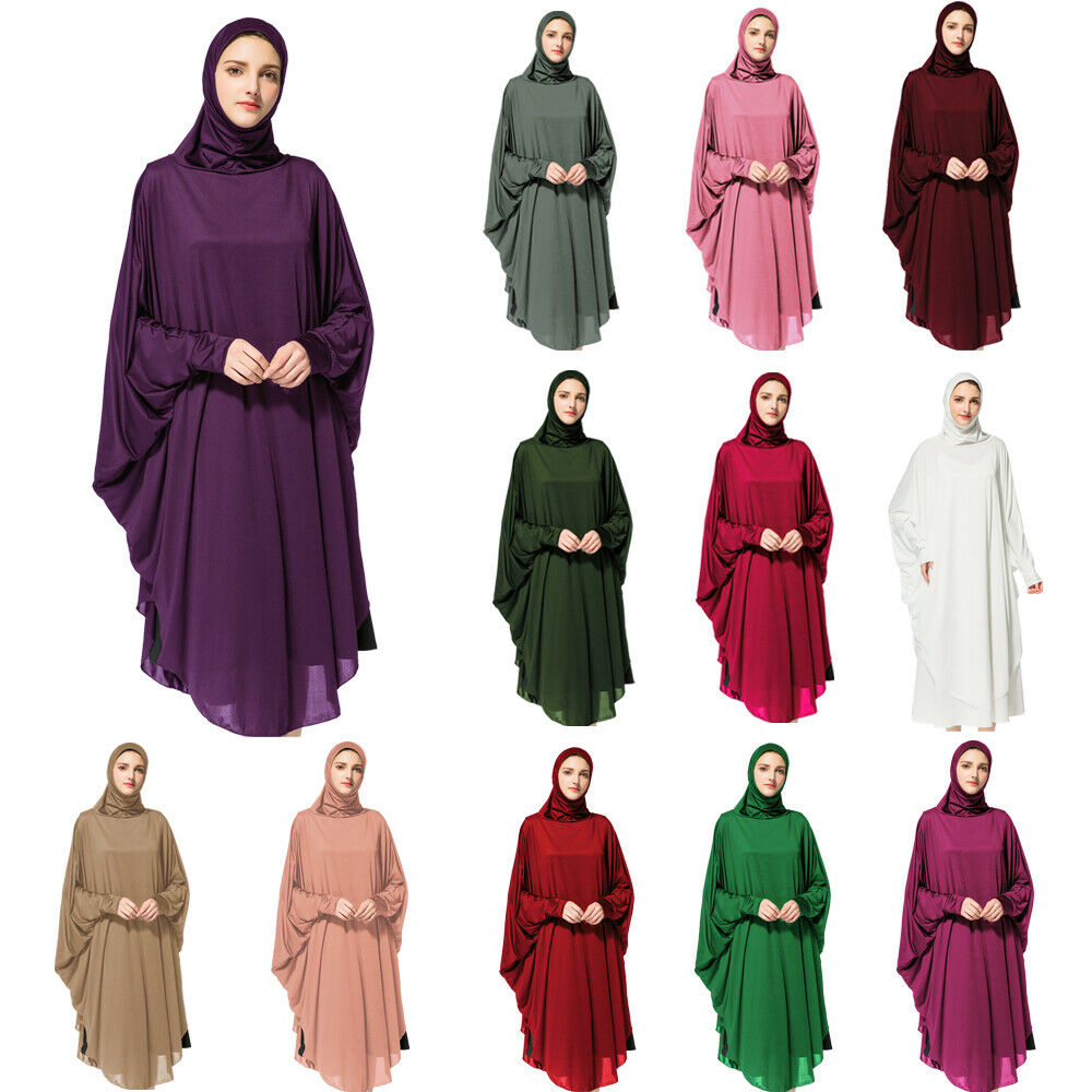 Muslim Women Prayer Dress Overhead Jilbab Long Hijab Abaya Khimar Headscarf Arab