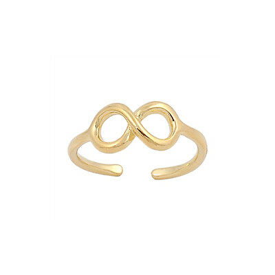 18K Gold over Sterling Silver Adjustable Size Toe Ring with Infinity Symbol