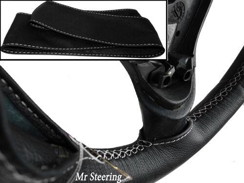 Fits TRIUMPH TR3 véritable cuir noir volant couvrir 55-62 surpiqûres blanches