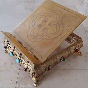 Museal-Altar-Tischpult-vergoldet-Messbuchpult-Missalepult-Epoche-Napoleon-III