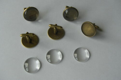 16mm 18mm 20mm ANTIQUE BRONZE ROUND CUFFLINK SETTING BLANK OPTIONAL GLASS DOMES