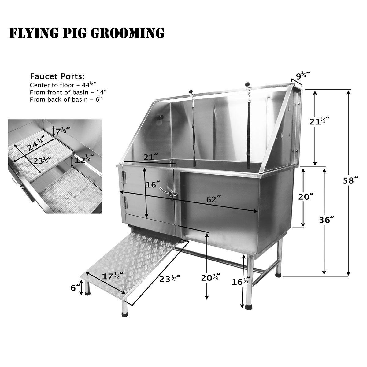 Flying Pig 174 Pro Stainless Steel Pet Dog Cat Wash Shower