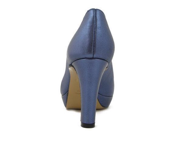 Scarpe Donna Decolte in Pelle Blu Laminato Tacco Medio Alto Alto Alto 8,5 cm e Plateau | Di Rango Primo Tra Prodotti Simili  | Uomo/Donna Scarpa  1b4c72
