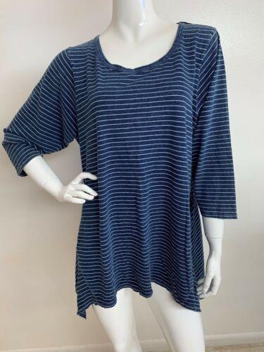 Woman New 2X Cotton Blue Denim Faded Striped Sharkbite Hem Top Blouse Tunic NWT