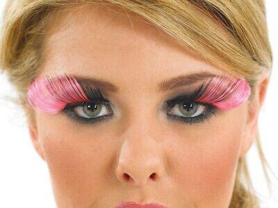 False Eyelashes Pink Feather Plume Beauty Fancy Dress Hen Night Womens Glue