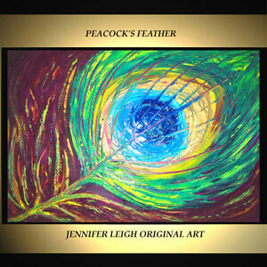 CHPT21 Modern Abstract polychrome Peacock  100/% hand Oil Painting Art canvas
