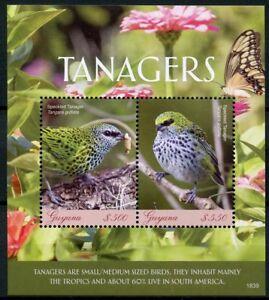 Guyana 2018 Neuf Sans Charnière Tanagers Moucheté Tangara 2 V S/s Oiseaux Timbres-afficher Le Titre D'origine