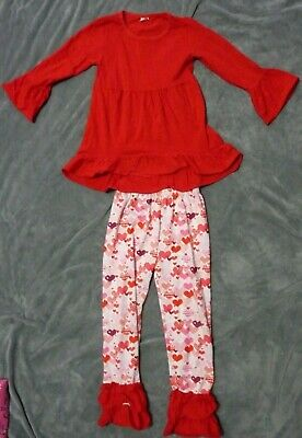 Boutique girls outfit,ruffle pants,chunky bead,bowknot valentines purple sz 5