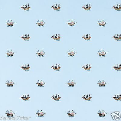 LAURA ASHLEY PIRATE SHIPS BLUE WALLPAPER 6 ROLLS BRAND NEW SLIGHTLY IMPERFECT