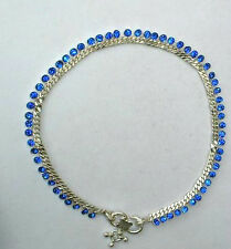 HEAVY SOLID SILVER BLUE COLOR DIAMOND DIMANTE ANKLE BRACELET INDIA