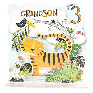 Grandson youre 3 really lovely large pop up tiger bird 3rd image is loading grandson you 039 re 3 really lovely large bookmarktalkfo Images