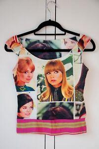 Manches Femmes Taille Nouveau Multicolore Custo Imprimer Top S Coton Face Designer Sans 7WzZq