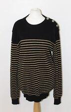BALMAIN Ladies Black Golden Striped Knitted Long Sleeve Crew Neck Jumper L