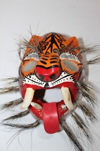 Details About 258 Tigre Mirror Eyes Wooden Mexican Mask Tiger Madera Artesania Chilapa