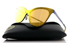 NEW Authentic RAY-BAN BLAZE CAT EYE Blue Dark Orange Sunglasses RB ... d2956f72e8