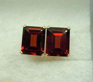 Image Is Loading 14kt Genuine Garnet Earrings 14k Gold 8ctw 10x8