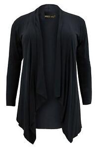 Womens Ladies Knitted Boyfriend Waterfall Cardigan Open Cardigan Size UK 16-26