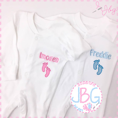 Personalised Embroidered Name Baby Grow,Bodysuit,Sleepsuit,Outfit Keepsake Gift