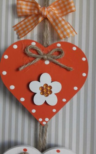 Orange /& White Wooden Hanging Heart Decoration Ornament Any Colours