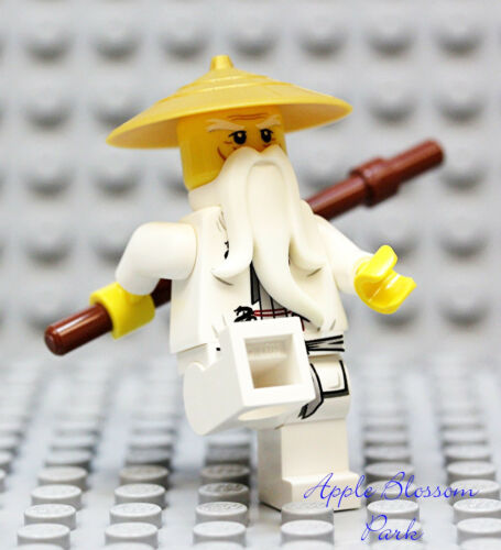 NEW Lego Ninjago SENSEI WU MINIFIG White Ninja Minifigure w//GOLD RICE HAT 9450