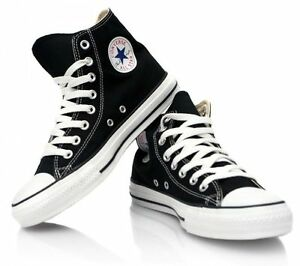 c6f37b3542ae Converse All Star Black and White Youth Boy Girl Hi Top Kids Shoes ...