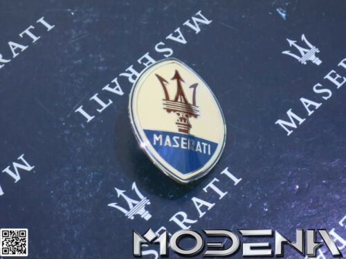 Maserati Emblème Trident Ovale Beige Métal Neuf Petit 63 mm Emaillé Coffre