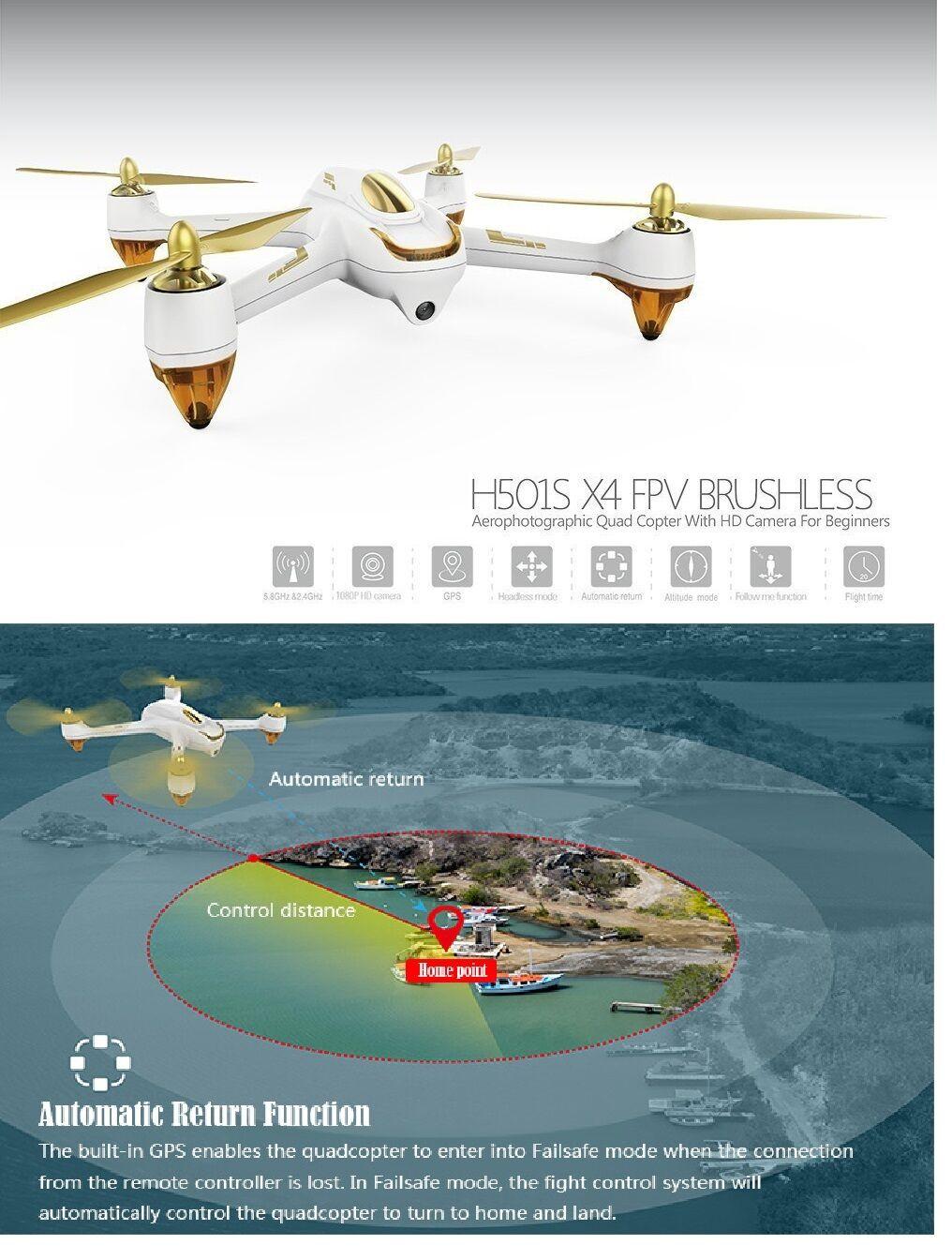 Genuine Hubsan X4 501S 5.8G FPV Drone 1080P Camera GPS Quadcopter Plane SD Card