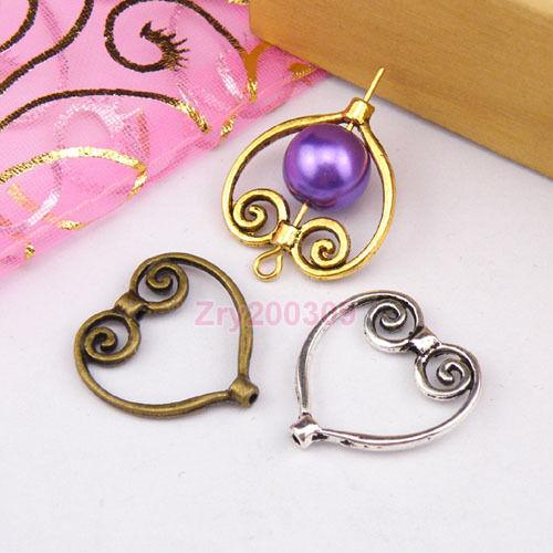 20Pcs Tibetan Silver,Antiqued Gold,Broze Heart Bead Frame Jewelry DIY M1165