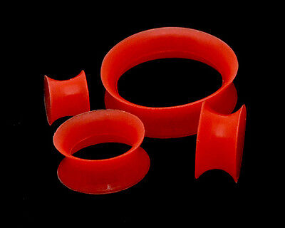 Pair of Thin Walled Red Silicone Plugs gauges set new flexible earskin