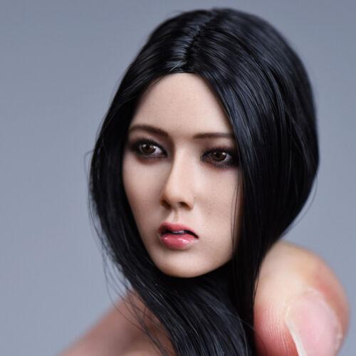 YMTOYS 1:6 Asian Star Lan Black Long Hair Head Sculpt Model Fit Seamless Body