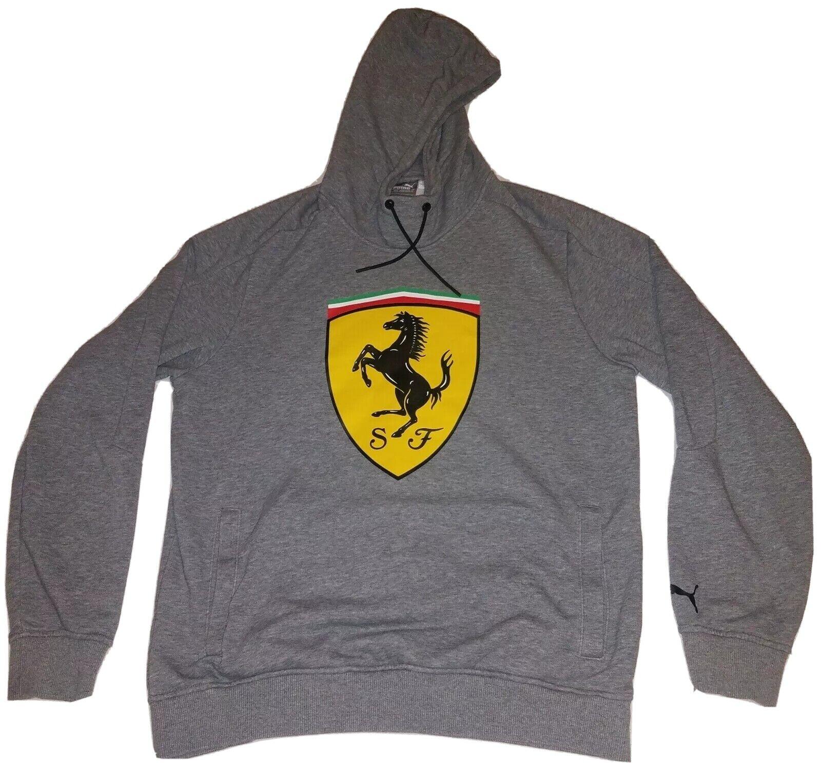 Puma Ferrari Hoodie Gray Big Logo Men S Medium Euc Gem