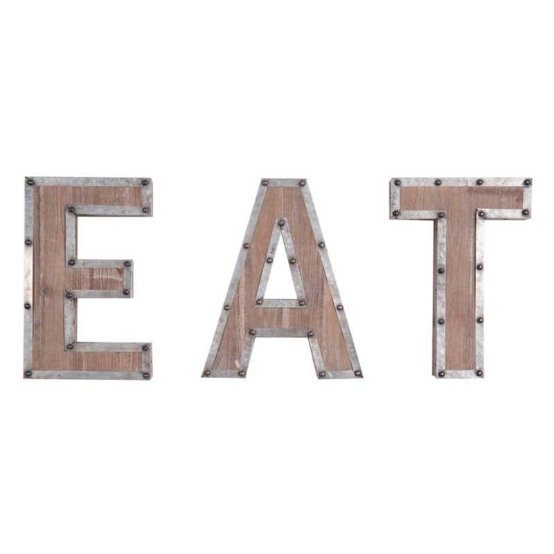 Eat Wall Decor Rustic Country Farmhouse Wood With Metal Set Of 3 Letters For Sale Online