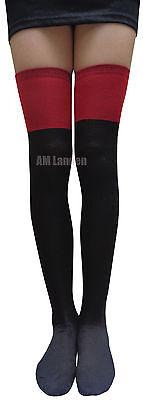 2-Tone(RED & BLK)WOOL Over Knee/Thigh-Highs Socks Stockings US Seller