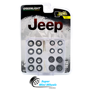Greenlight-1-64-Auto-Body-Shop-Series-1-Jeep-Wheels-amp-Tires-Set