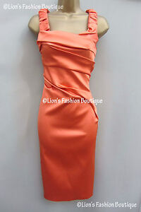 KAREN-MILLEN-BNWT-175-Satin-Evening-Bodycon-Wiggle-Pencil-Party-New-Races-Dress