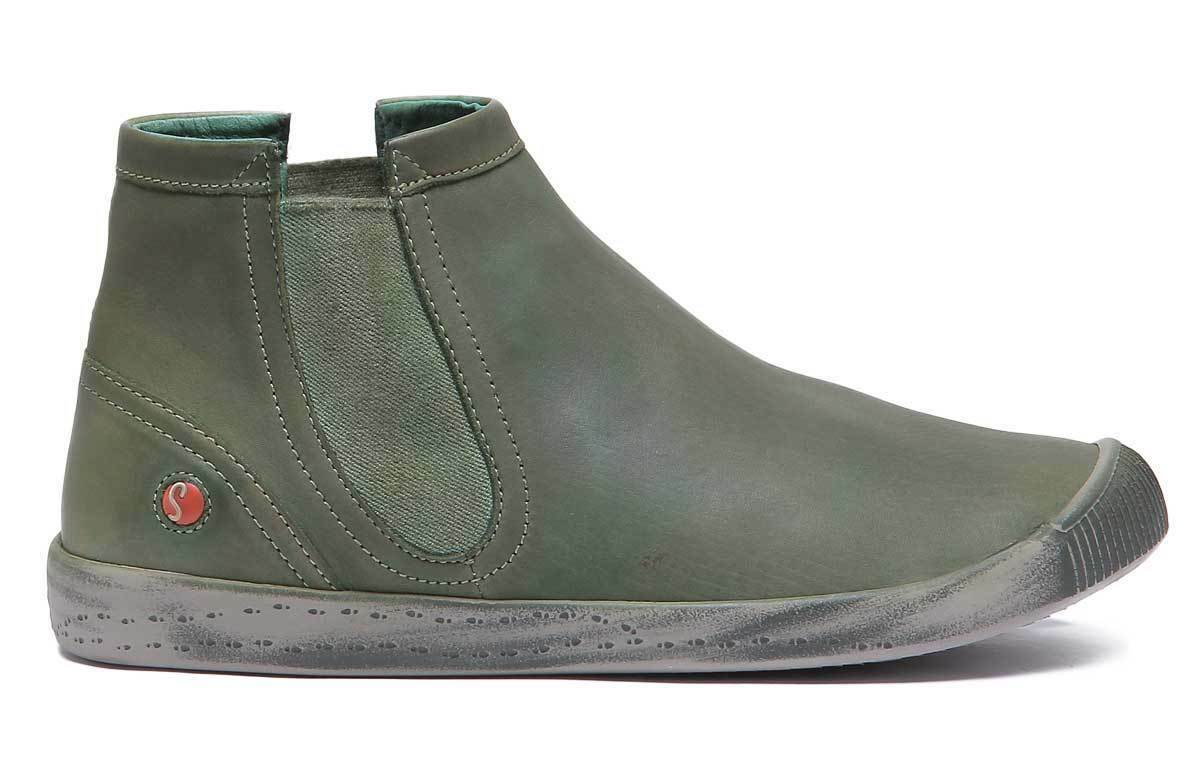 Softinos Inge pour femme en cuir cuir cuir vert forêt Bottines Chelsea Taille UK 3 - 8 9eb71e