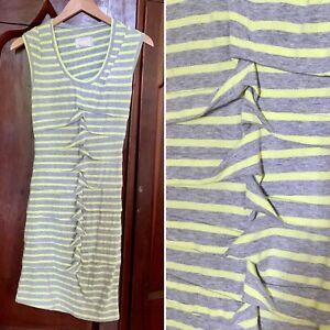 NICOLE MILLER Artelier Women's SMALL Neon BODYCON Green Gray Stripped Dress