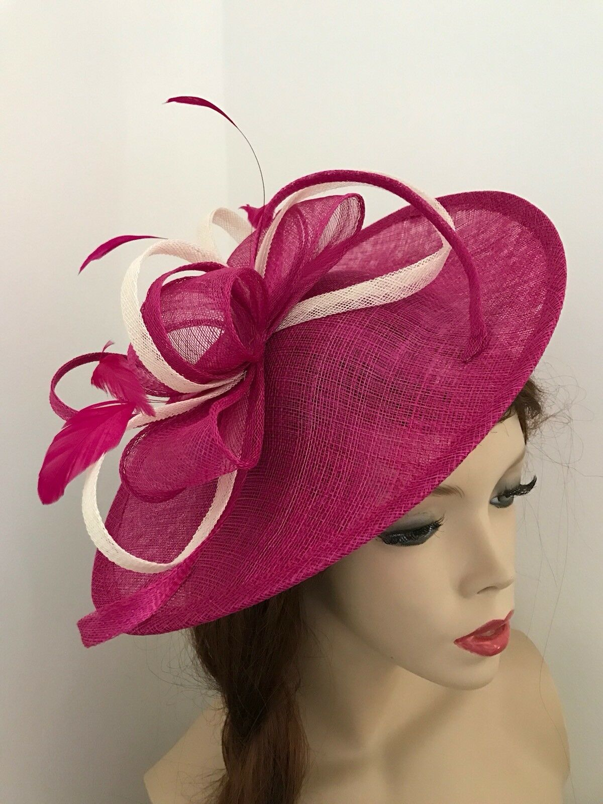 Fuchsia Pink Ivory Fascinator Saucer Hat Hatinator Races Disc Feathers Wedding